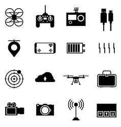 Black icons for quadrocopter set vector