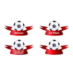 Set of soccer ball with ribbon vector