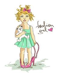 Little girl in mothers high heel shoes vector