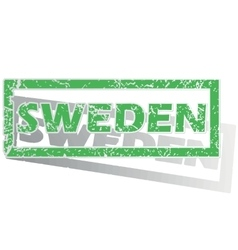 Green outlined sweden stamp vector