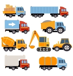 Trucks and Tractors Set Flat Style vector image