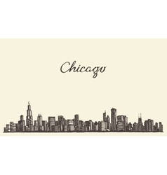 Chicago skyline city engraving vector image
