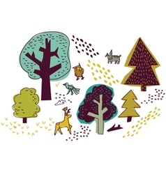Forest and animals isolate on white nature design vector