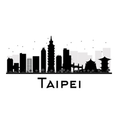 Taipei city skyline black and white silhouette vector