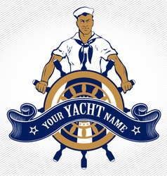 Sailor man emblem vector