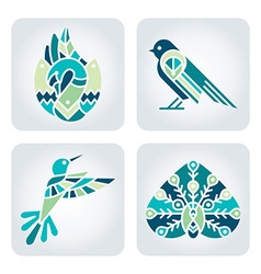 Birds mosaic icons vector