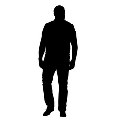 black silhouettes man on white background vector image vector image