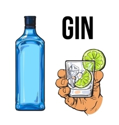 Blue gin bottle hand holding glass with ice and vector