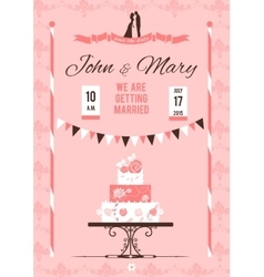 Card with wedding cake vector