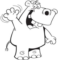 Cartoon Hippo Waving vector image