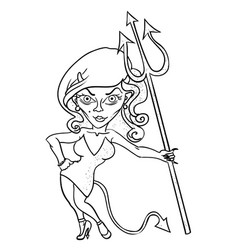 Cartoon image of devil girl vector