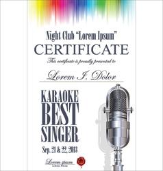 Certificate best karaoke singer vector