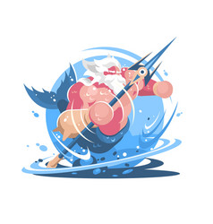 character poseidon with trident vector image