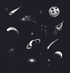 Cosmic objects and space planets vector