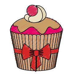 delicious and sweet cupcake icon vector image