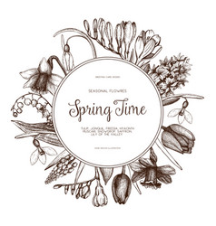 Design with hand drawn spring flowers vector