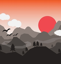Flat landscape with mountains over the sun vector image