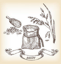 Hand drawn sack grain meal oats vector