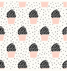 hand drawn succulent pattern vector image vector image