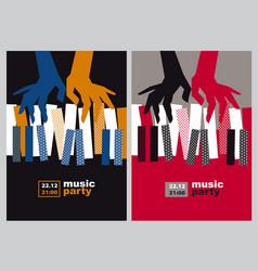 Hands and piano keys vector