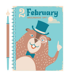 Happy groundhog background with marmot on vintage vector