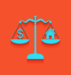 House and dollar symbol on scales whitish vector