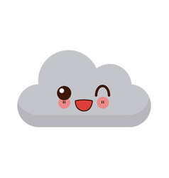 kawaii sun and cloud weather web icon vector image