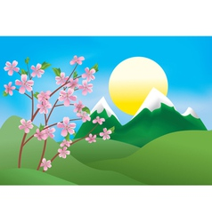 Landscape with peach tree vector