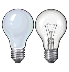 Modern fluorescent energy saving and traditional vector image vector image
