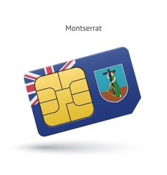 Montserrat mobile phone sim card with flag vector