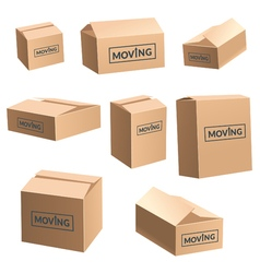 Moving cardboard box on white background set vector