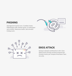 Phishing and ddos attack cyber security concept vector