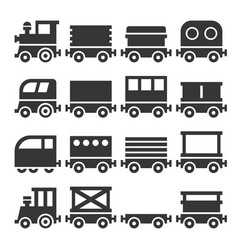 Train icons set vector