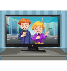 Two news reporters on television vector