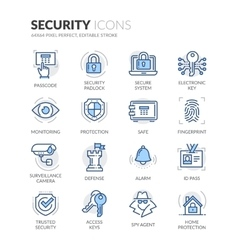 Line security icons vector