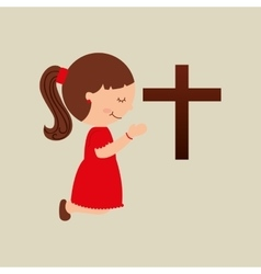 Happy girl praying with big bible icon design vector