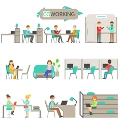Coworking in modern design office infographic vector