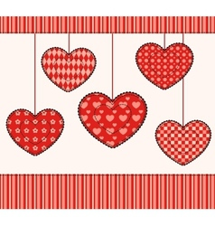 Card with patchwork hearts vector