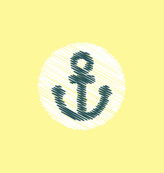 Flat icon design collection sea anchor vector