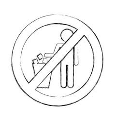 Denied to deposit garbage sign vector