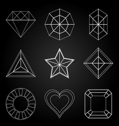 General gem shape icons on dark background vector