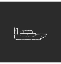 Cargo container ship icon drawn in chalk vector