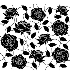 Seamless of a black roses and leafs vector