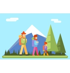 Autumn family trip concept flat design icon vector