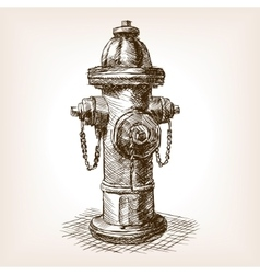 Vintage fire hydrant sketch vector