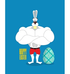 Happy easter powerful rabbit guards easter egg vector
