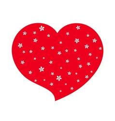 Red heart flower blossom icon white vector