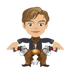 Cute blond man with guns in cartoon style vector