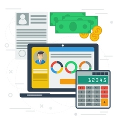 Accounting flat with computer app vector