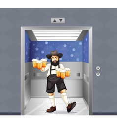 A waiter with mug of beers at the elevator vector image